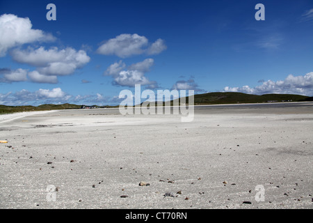 Isle of Barra, Scotland.  Picturesque view of Barra Eoligarry Airport beach at Tràigh Mhòr. - Stock Photo