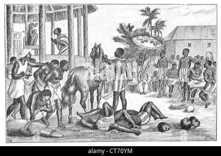 Human sacrifices at Dahomey. Old engraving from a 19th century book. - Stock Photo