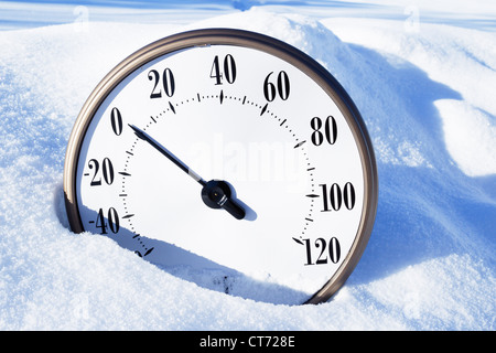 Thermometer In Winter Snow Showing Minus Temperature With