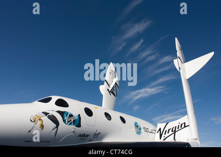 Model of Virgin Galactic's space tourism vehicle, SpaceShipTwo (SS2) at the Farnborough air show. - Stock Photo