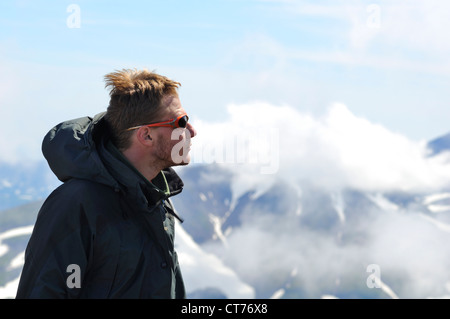 portrait of traveller in Gorely volcano area on Kamchatka - Stock Photo
