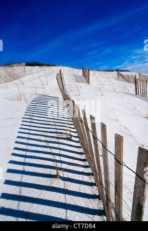 Wooden fence on beach - Stock Photo