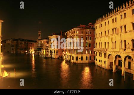 Venice By night, View from Rialto Bridge along the River - Stock Photo