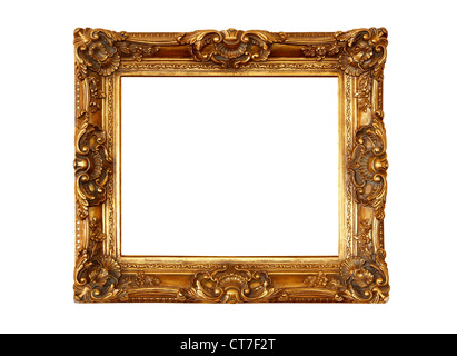 Vintage wooden picture frame isolated on white background - Stock Photo