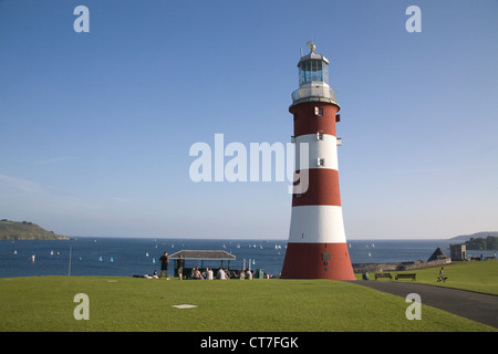 smeatons tower on plymouth hoe on the south devon coast - Stock Photo