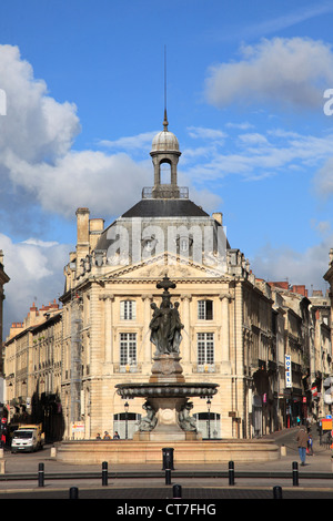 France, Aquitaine, Bordeaux, Place de la Bourse, - Stock Photo