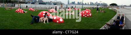 Park goers relax during a heat wave on the lawn on the Christopher Street Pier in Hudson River Park in New York - Stock Photo