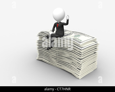3d businessman sitting on top of stack of dollar with hand raise - Stock Photo