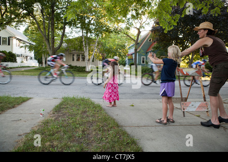 The Shorewood, Wisconsin Criterium is an annual event on the streets of this village. - Stock Photo