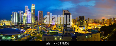 South East Asia, Singapore, Elevated view over the Entertainment district of Clarke Quay, the Singapore river and - Stock Photo