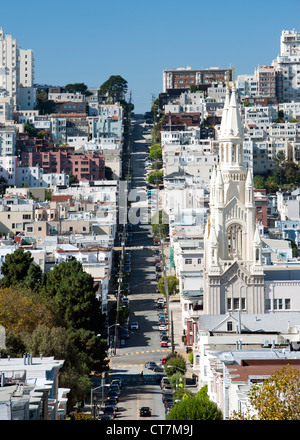 View along Filbert Street looking southwest past Saints Peter and Paul Church in the North Beach district of San - Stock Photo