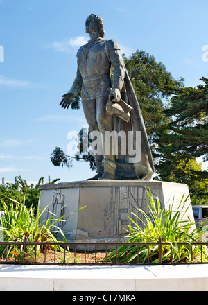 Christopher Columbus statue in Pioneer Park on the summit of Telegraph Hill in San Francisco, California, USA. - Stock Photo