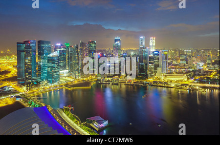 South East Asia, Singapore, Aerial view over Central Singapore and Marina Bay - Stock Photo