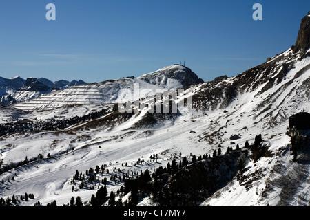 Col Rodella  above The Passo Sella from Ciampinoi Selva Val Gardena Dolomites Italy - Stock Photo
