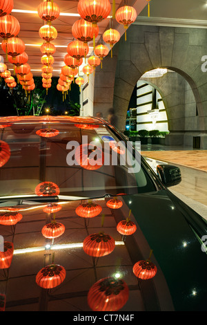 Chinese Lanterns outside a luxury hotel, Singapore, South East Asia - Stock Photo