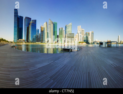 South East Asia, Singapore, Financial Centre and Marina Bay - Stock Photo