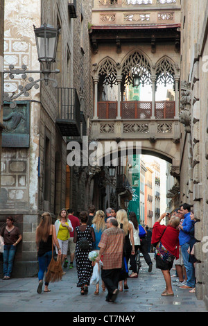 Spain, Catalonia, Barcelona, Barri Gotic, Carrer del Bisbe, - Stock Photo