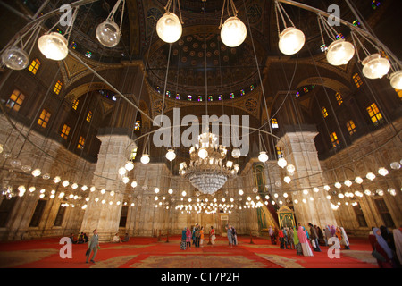 Interior of the Mosque of Muhammad Ali Pasha in the citadel of Cairo, Egypt - Stock Photo