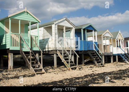 Beach Huts at Southend-on-Sea beach in Essex, England. - Stock Photo