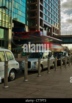 Bus Taxi DLR Train - Stock Photo