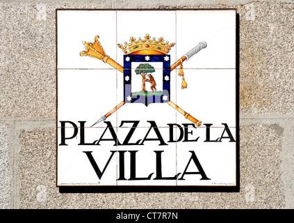 Madrid, Spain. Traditional Tiled Street Sign (by Alfredo Ruiz de Luna / Madrid) Plaza de la Villa - Stock Photo