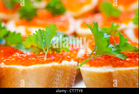 Russian appetizer background. Red caviar sandwiches, photo with shallow depth of field - Stock Photo