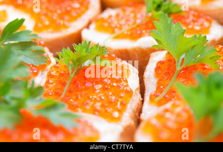 Russian appetizer background. Red caviar sandwiches, closeup photo with shallow depth of field - Stock Photo