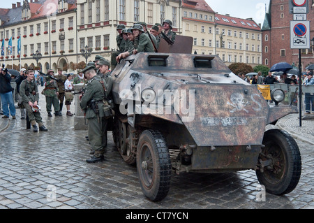 SPW SdKfz 250 German half track armored personnel carrier, displayed after 1944 Warsaw Uprising re-enactment in - Stock Photo