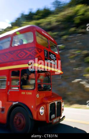 Routemaster tourist bus by Lago Lacar - Stock Photo