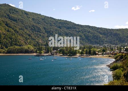 Town on eastern shore of Lago Lacar - Stock Photo