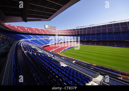 wide view of FC Barcelona (Nou Camp) soccer stadium - Stock Photo