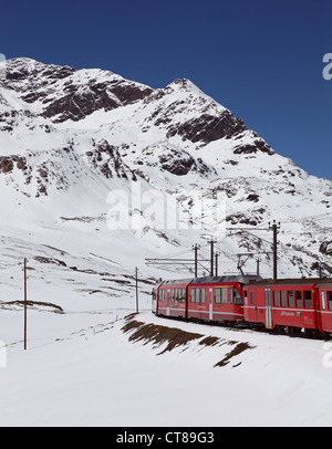View of the Swiss Alps from the Bernina Express train - Stock Photo