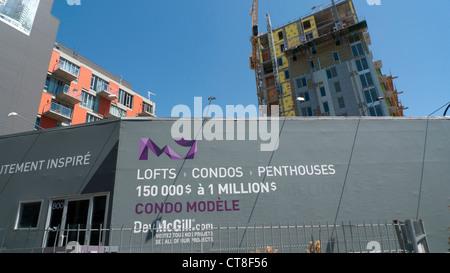 New Condominium residential apartment building under construction Montreal, Quebec, Canada    KATHY DEWITT - Stock Photo