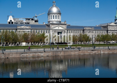 Marche Bonsecours building and waterfront promenade along the St. Lawrence River Canadian city of Montreal, Canada - Stock Photo
