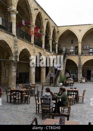 dh Old Town North NICOSIA CYPRUS Girls cafe tables Buyuk Han Big Inn Lefkosa turkish women - Stock Photo