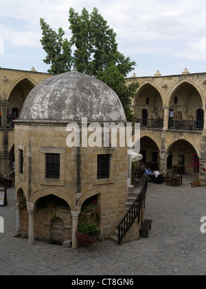 dh Old Town North NICOSIA CYPRUS Buyuk Han Big Inn courtyard Lefkosa Ottomans Caravanserai turkish great inn - Stock Photo