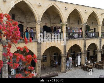 dh Old Town North NICOSIA CYPRUS Craft shops Buyuk Han Big Inn courtyard Lefkosa Ottomans Caravanserai - Stock Photo