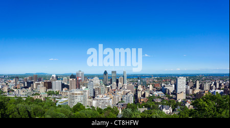 View of the city from the Kondiaronk scenic lookout at the Chalet du Mont Real, Mount Royal Park, Montreal, Quebec, - Stock Photo