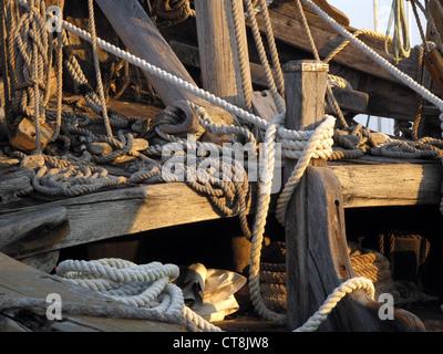 Closeup of rope on Nina replica in Corpus Christi, Texas marina - Stock Photo