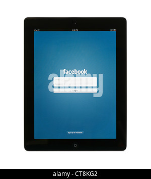 Login page for facebook on an iPAD - Stock Photo