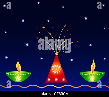 Indian festival Diwali lamps and firework - Stock Photo