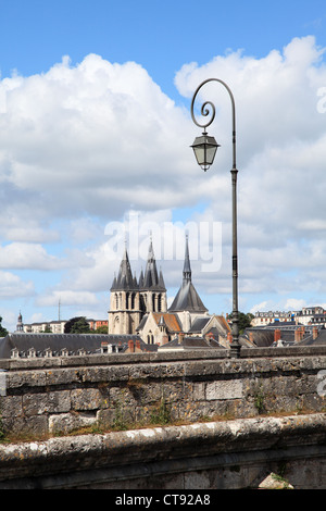 The church of St Nicholas seen from the Jacques Gabriel bridge, Blois, France - Stock Photo