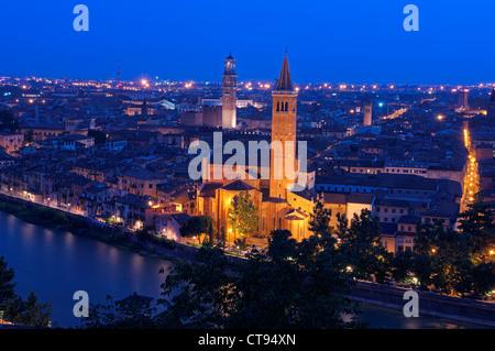 Verona. Santa Anastasia church and Torre de Lamberti at Dusk. Adige river. Veneto. Italy. Europe - Stock Photo