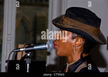 African American blues singer Kathleen Pearson performing live in Dundee,UK - Stock Photo