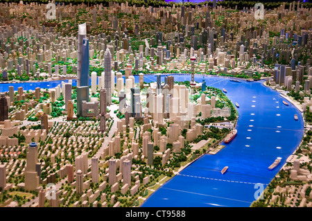 Scale model of Shanghai at the Shanghai Urban Planning Exhibition Center - Shanghai China - Stock Photo