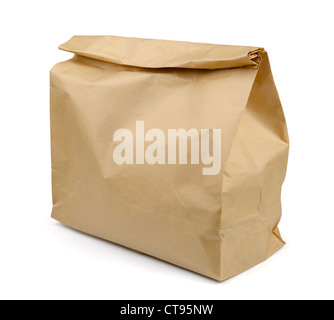 Brown paper lunch bag isolated on white - Stock Photo