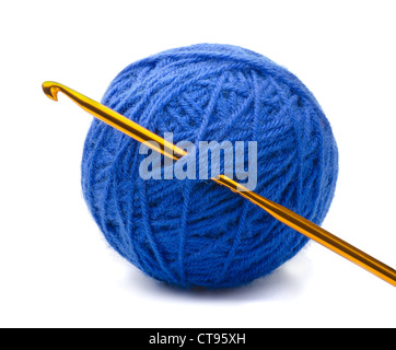 Ball of blue yarn and crochet hook isolated on white - Stock Photo