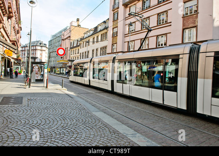 Tramway de Strasbourg,consists of six lines, A, B, C, D, E and F. Lines were opened Between 1994-2000,Approaching - Stock Photo