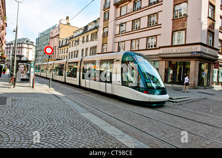 TTramway de Strasbourg,consists of six lines, A, B, C, D, E and F. Lines were opened Between 1994-2000,Approaching - Stock Photo