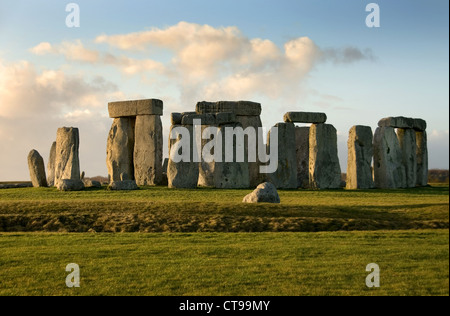 Stonehenge near Amesbury, Wiltshire, England, in the late afternoon on a cold Winter's day - Stock Photo